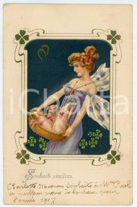 1906 ART NOUVEAU - Lady with pigs and four-leaf clover - Postcard