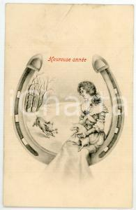 1920 HEUREUSE ANNÉE - Woman sitting on giant horseshoe with pigs - Postcard