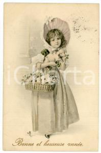 1913 BONNE ET HEUREUSE ANNÉE - Little girl with pig in her arms and a basket