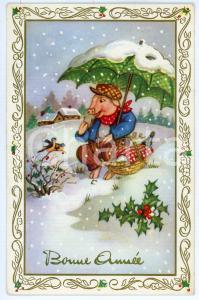 1915 BONNE ANNÉE - Pig eating sitting in the snow - Carte postale