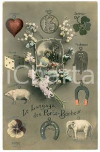 1913 FRANCE LOVERS Le Langage des Porte -Bonheur - Carte postale