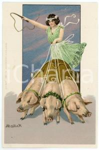 1900 ca Artist MAILICK - Woman on a cart pulled by pigs - Postcard
