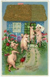 1910 BONNE ANNÉE Pigs coming in a house with a roof of coins  *Embossed postcard