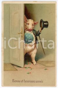 1910 BONNE ET HEUREUSE ANNÉE Pig with a hat opening the door *Embossed postcard