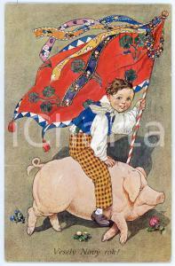 1911 Vesely Novy Rok - Artist J. WENIGA - Child with flag riding a pig *Postcard