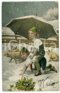 1910 ca CHRISTMAS - Children in the snow with umbrella and pigs - Postcard