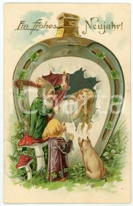 1911 Frohes Neujahr! - Woman with gnomes and good luck sign *Embossed Postcard
