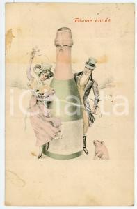 1907 BONNE ANNÉE Man and woman dancing with a bottle - Postcard