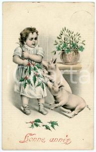 1919 BONNE ANNÉE  Little girl with holly and pigs - French vintage postcard