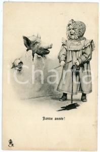 1900 ca BONNE ANNÉE - Little girl scared of pigs heads - Postcard TUCK'S