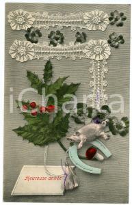 1910 ca HEUREUSE ANNÉE - Good luck sign - Pig - Lace - French vintage postcard