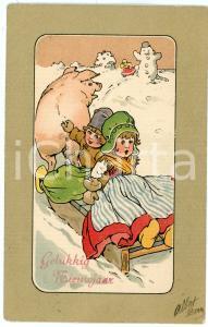 1900 ca Gelukkig nieuwjaar - Children on a sled pulled by a pig - Postcard