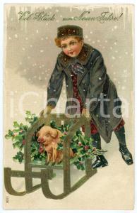 1910 Viel Glück zum Neuen Jahre! - Child with sled and pig *Embossed Postcard