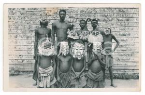 1930 ca C. ZAGOURSKI (?) CONGO BELGE Hommes avec masques traditionnels Postcard