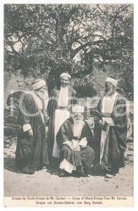 1900 ca ISRAEL - MOUNT CARMEL Group of Sheik - Druses - Postcard FP NV