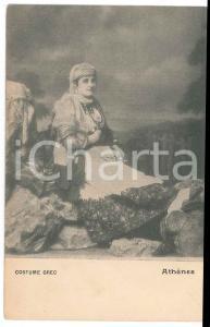 1900 ca ATHÈNES - GRÈCE Femme en costume grec - Carte postale FP NV