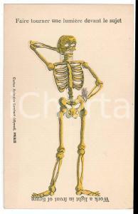 1920 ca DANSE MACABRE Skeleton ILLUSTRATED Light Postcard