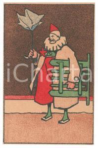 1910 ca CIRCUS Clown with broken umbrella ILLUSTRATED Postcard FP NV