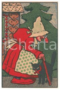 1910 ca ANIMALS Old woman with black cat ILLUSTRATED Postcard FP NV