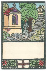 1915 Artist Marie VON ZULOW Soldier praying - Cartolina FP NV