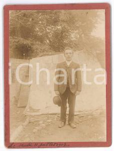 Juillet 1907 FRANCE Portrait d'homme à la campagne - Photo VINTAGE 9x12 cm