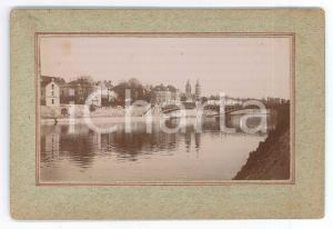 1897 MELUN (FRANCE) Vue avec le Pont-aux-Moulins - Photo VINTAGE 13x9 cm