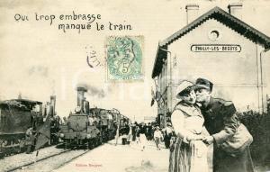 1900 ca FOUILLY-LES-BECOTS Qui trop embrasse manque le train - Carte postale FP