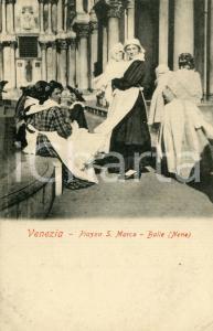 1910 ca VENEZIA Balie in Piazza San Marco - Cartolina ANIMATA FP NV