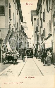 1905 ca BOLOGNA Tram in Via D'Azeglio - Cartolina ANIMATA FP NV