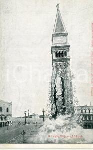 1902 VENEZIA Crollo del campanile di SAN MARCO Fotoritocco - Cartolina FP NV