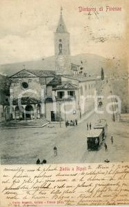 1901 BADIA A RIPOLI (FI) Abbazia di San Bartolomeo e tram - Cartolina FP VG