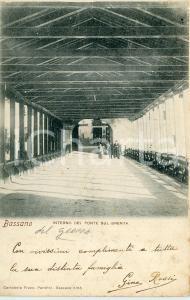 1900 BASSANO DEL GRAPPA Interno del ponte sul Brenta - Cartolina ANIMATA FP VG