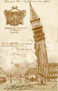 1903 VENEZIA Crollo del campanile di SAN MARCO Ill. di A.D. STELLA - Cartolina