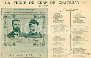 1910 ca LE FUGUE DU CURÉ DE CHATENAY Paroles de Antonin LOUIS - Song Postcard