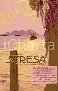 1920 ca STRESA - LAGO MAGGIORE Panorama con battello - Cartolina ILLUSTRATA FP