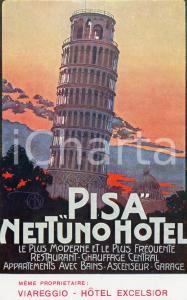 1920 ca PISA Nettuno Hotel - Cartolina ILLUSTRATA FP NV