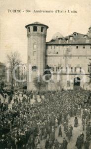 1911 TORINO Piazza Castello - 50° Anniversario d'Italia unita - Cartolina FP VG