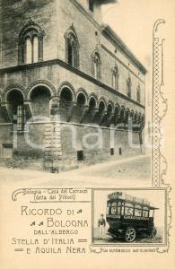 1920 BOLOGNA Albergo Stella d'Italia e Aquila Nera - Casa dei Carracci CARTOLINA