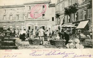 1902 MILANO Il mercato di Corso Porta Vittoria - Cartolina ANIMATA FP VG