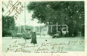 1918 VICENZA Campo di Marte e stazione ferroviaria - Cartolina ANIMATA FP VG