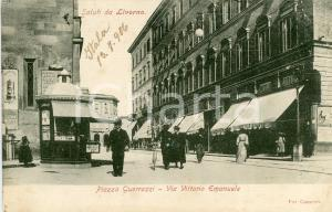 1900 ca LIVORNO Piazza Guerrazzi e Via Vittorio Emanuele - Cartolina ANIMATA FP