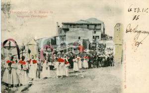 1906 SORGONO (NU) Processione di San Mauro - Cartolina colorata a mano FP VG