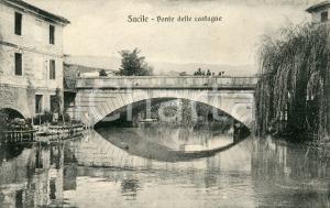1912 SACILE (PN) Ponte delle castagne - Cartolina ANIMATA FP VG