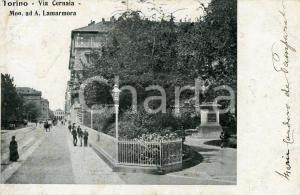 1900ca TORINO Via Cernaia - Monumento ad Alfonso LA MARMORA Cartolina ANIMATA FP