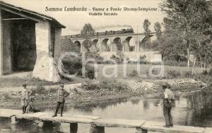 1920ca SOMMA LOMBARDO Ponte STRONA - SEMPIONE - Viadotto ferrovia - Cartolina FP