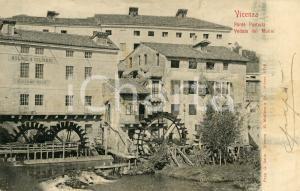1908 VICENZA Ponte Pusterla e veduta dei mulini - Cartolina FP VG