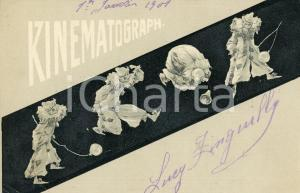 1901 KINEMATOGRAPH Film - Scene with balloon - ILLUSTRATED vintage postcard FP