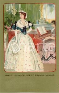 1920 ca MILANO Ditta FERNET-BRANCA Moda 1865 - Cartolina ILLUSTRATA FP NV