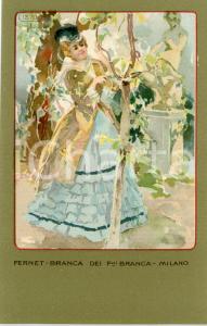 1920 ca MILANO Ditta FERNET-BRANCA Moda 1870 - Cartolina ILLUSTRATA FP NV