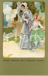 1920 ca MILANO Ditta FERNET-BRANCA Moda 1850 - Cartolina ILLUSTRATA FP NV